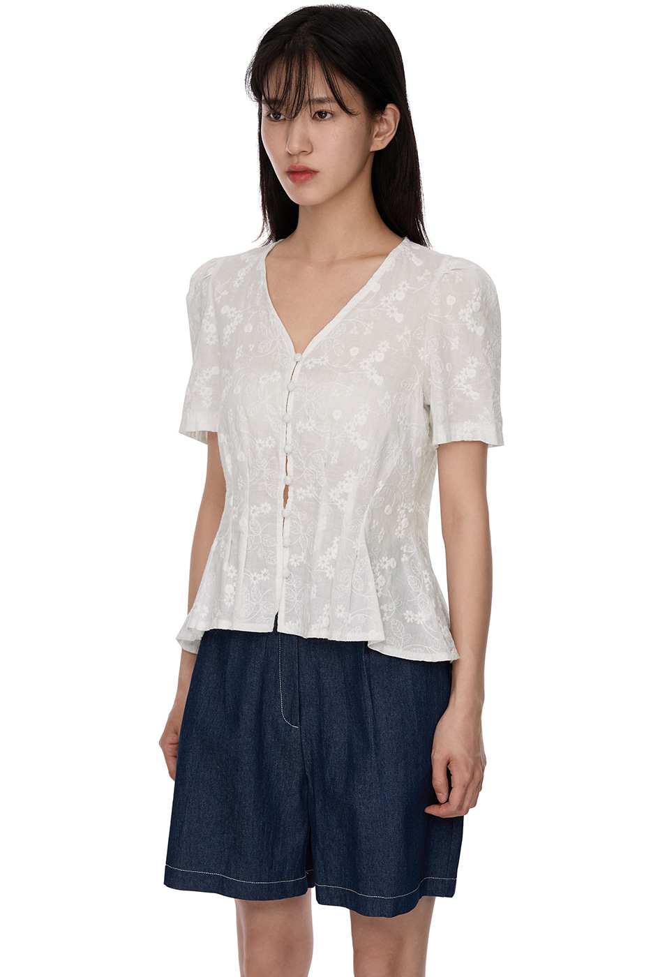 punched open blouse