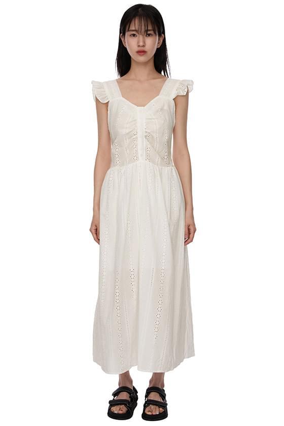 Lace Punching White Long Dress