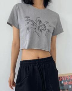 Angel Print Crop Short Sleeve Tee