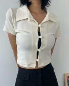 Bare Button Collar Short Sleeve Cardigan