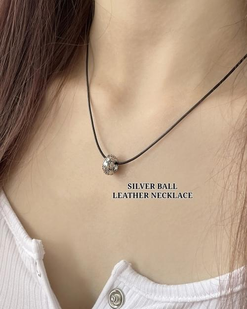 Ruri Antique Silver Ball Leather Necklace