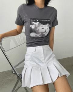 Cats Print Crop Short Sleeve Tee