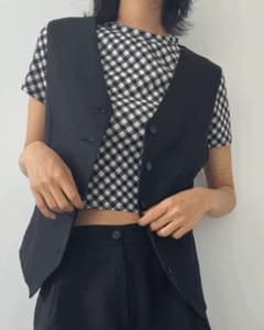 Rhombus Check Crop Short Sleeve Tee