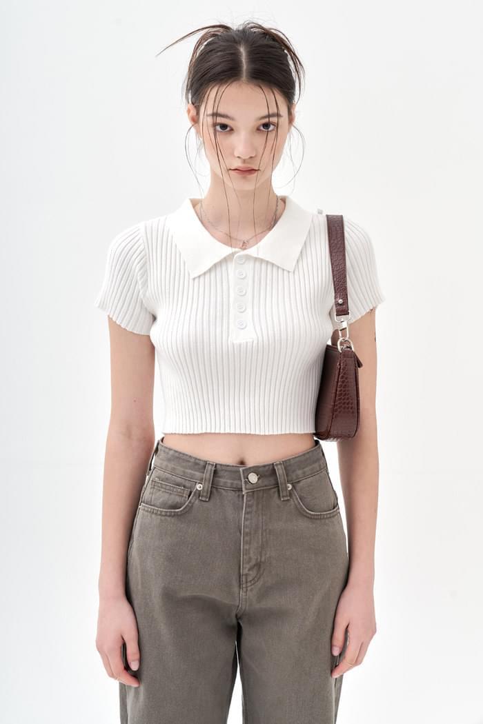 Collar Crop T White