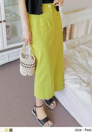 Linen Blend Straight Long Skirt