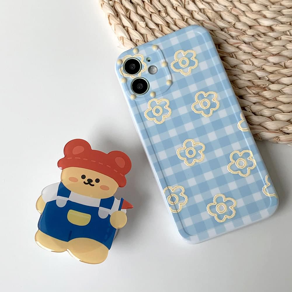 멜빵 곰돌이 체크 패턴 그립톡 아이폰케이스