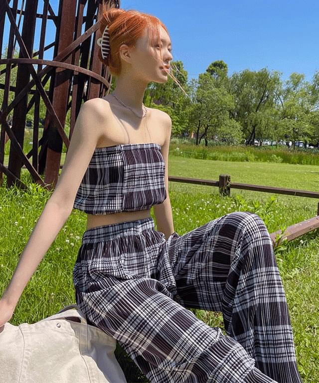 Haon Check Pleated Top Pants SET
