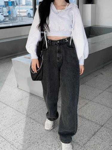 Rose Hook Denim Pants Black Denim