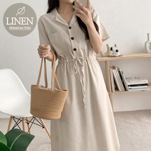linen collar string Dress