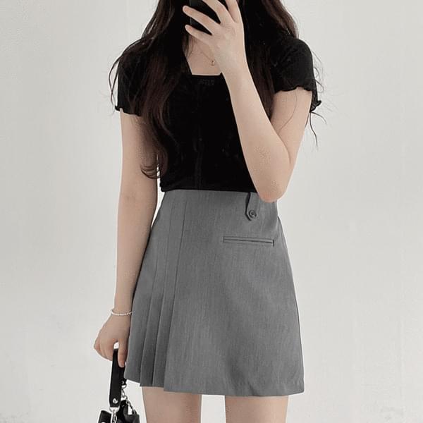 Cindy Shirring Short Sleeve Tee + Sleeveless set