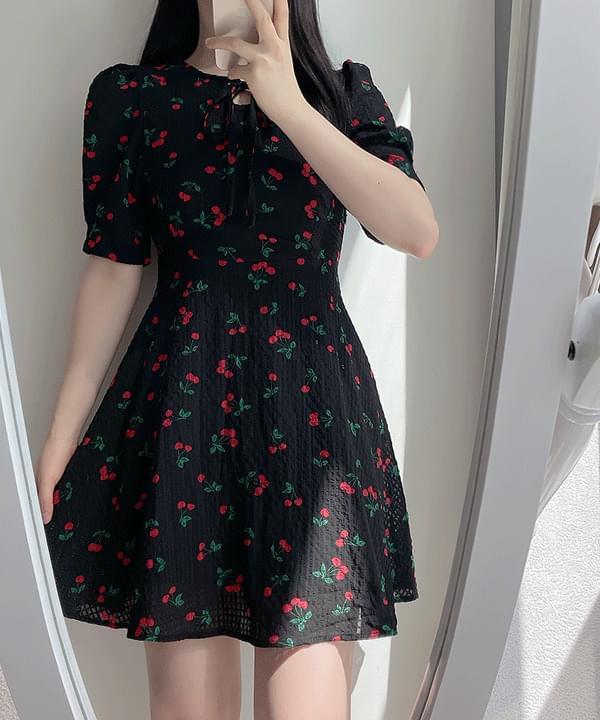 Cherry Cock Ribbon Mini Dress