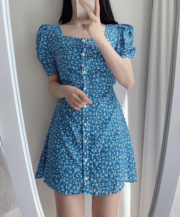 Fruit Square Puff Dress 2color