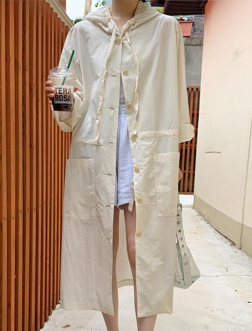 kitsch hooded long rain jacket
