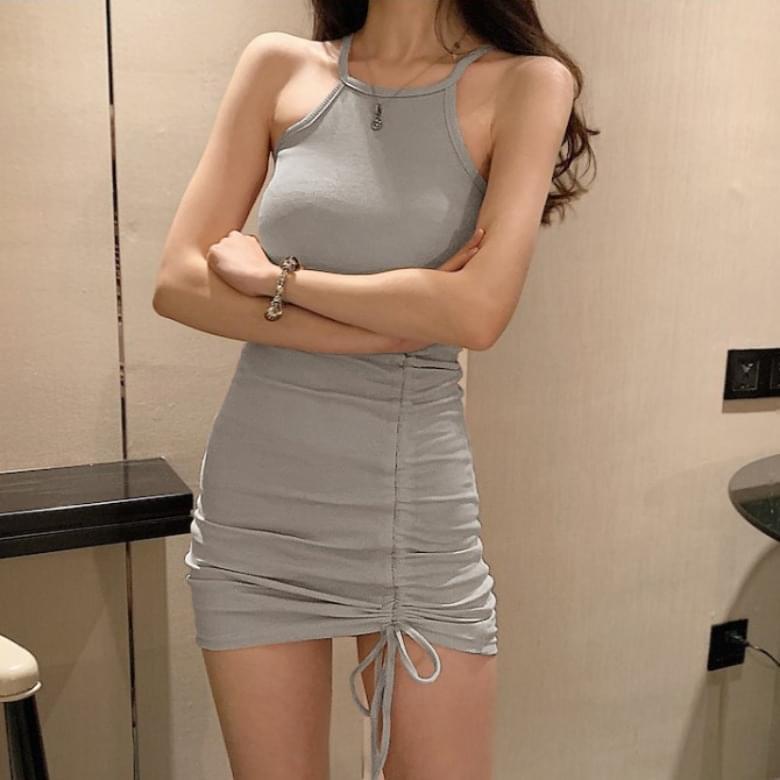 Halter Neck Slim String Sleeveless Dress 4colors