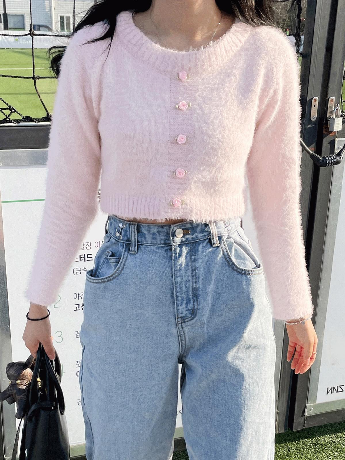 Rose Angora Button Knitwear
