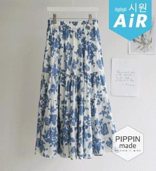 Flower Banding Long Skirt #53032
