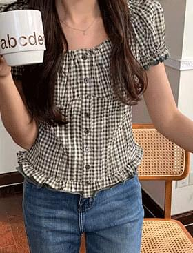 ★Planning★Peppermint check BL short sleeve, off shoulder 2 types available :D