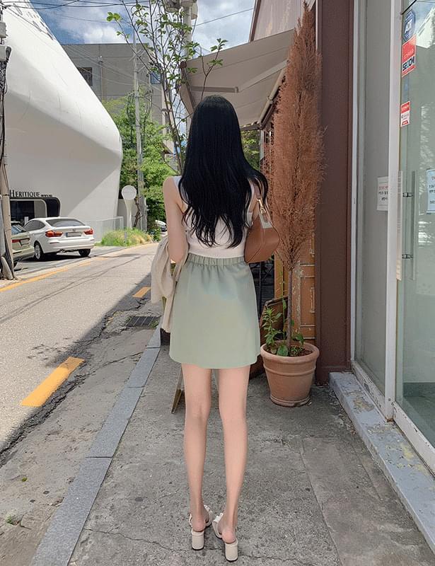 four rib mini pleated skirt