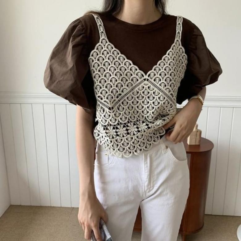 Summer Knitted Sleeveless Puff Blouse Set