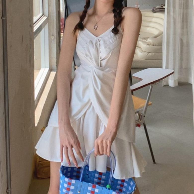 Soft pleated ruffle creamy Dress