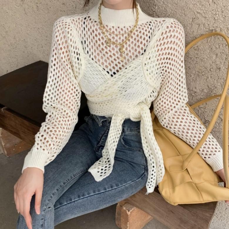 Cross Net Knot Long Sleeve Knitwear 2colors