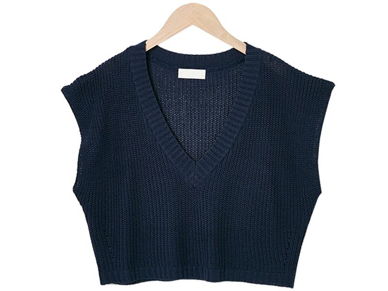Wingsleeve crop linen vest