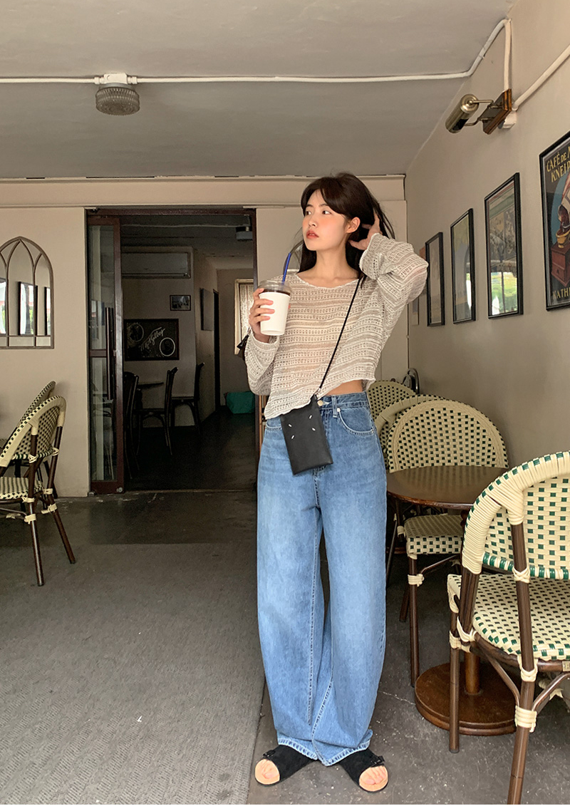 Vintage Blue Wide Denim Pants