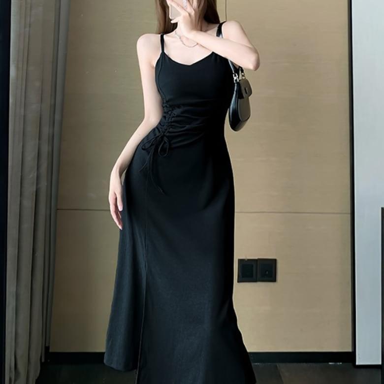 Slit string H-line split long Dress