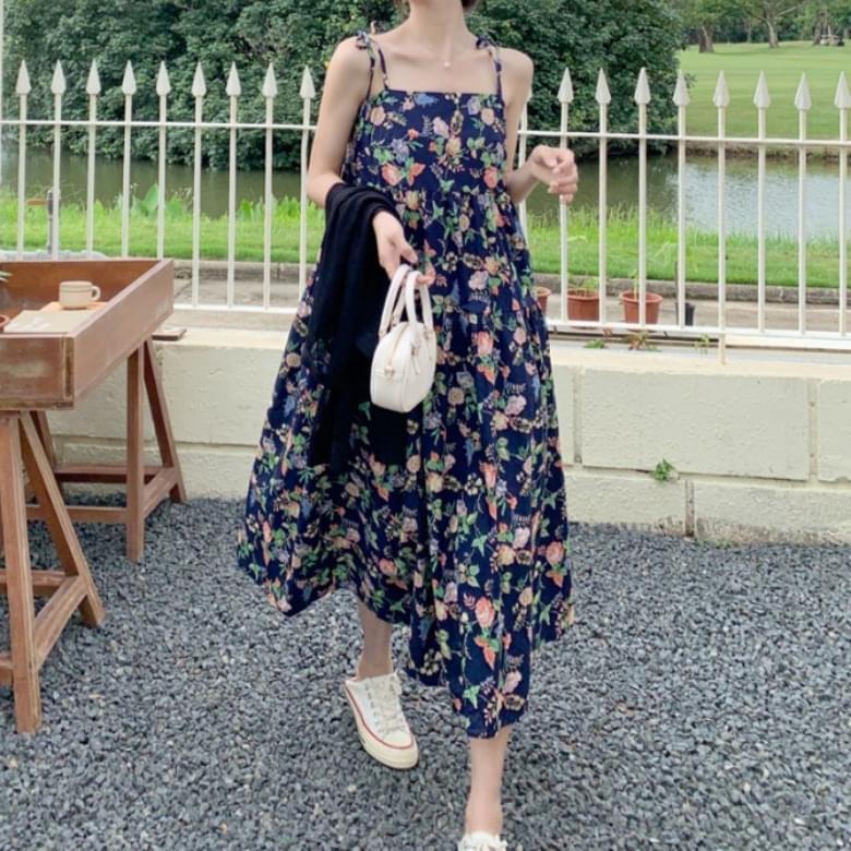 Vacation Square Neck Flower Sleeveless Dress