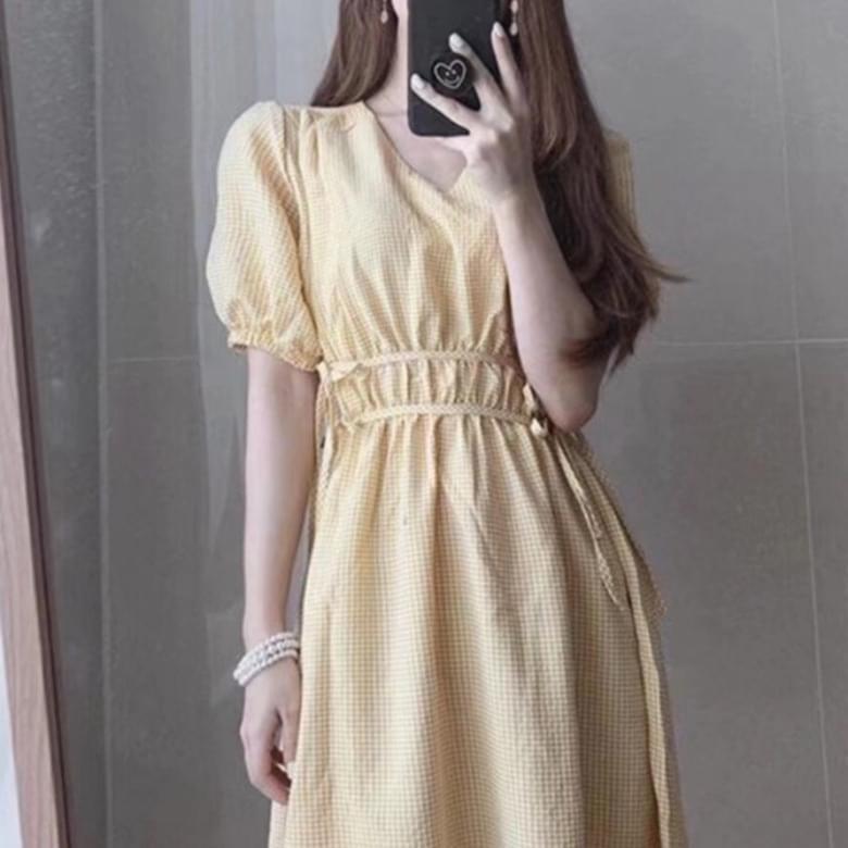 Lovely V Neck Minimal Check Puff Dress 2colors