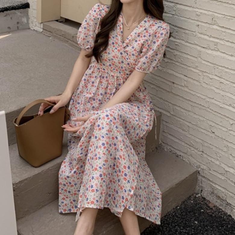 Romantic Shoe Pastel Flower Wrap Dress