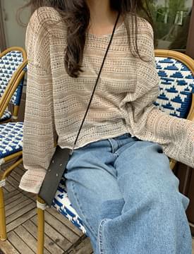Mesh Crop Round Knitwear