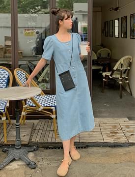 puff snap button long Dress