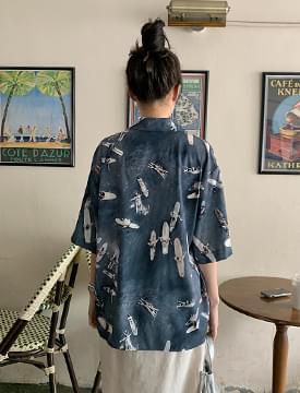 surf print short sleeve shirt