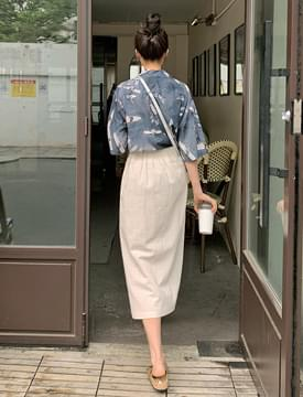 Diva button slit long skirt