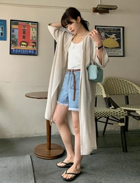 Basic linen long robe cardigan