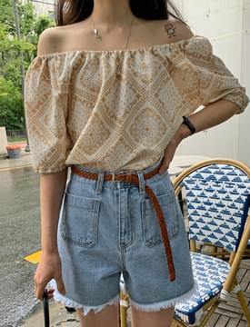 off shoulder paisley blouse