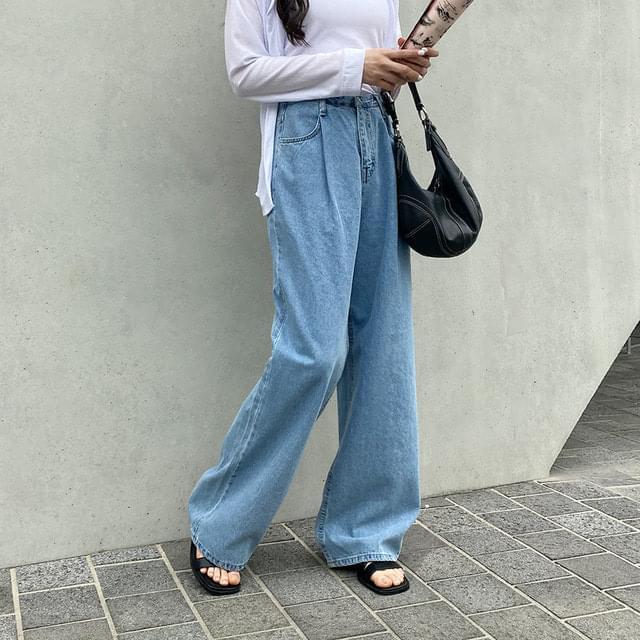 Big Size 26-32 Inch Aiden Pintuck Wide Denim Pants