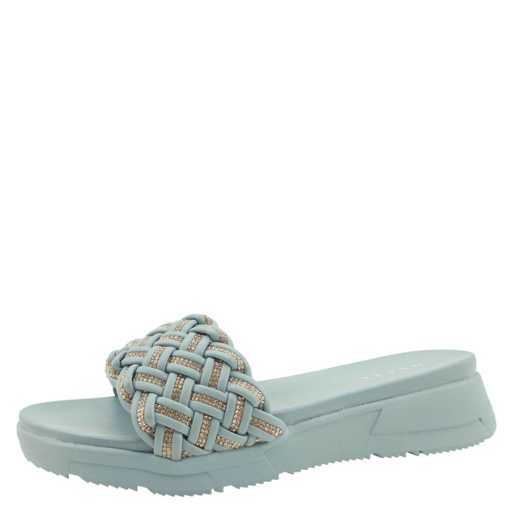韓國空運 - Cubic Weave Strap Whole Heel Slippers Blue 涼鞋
