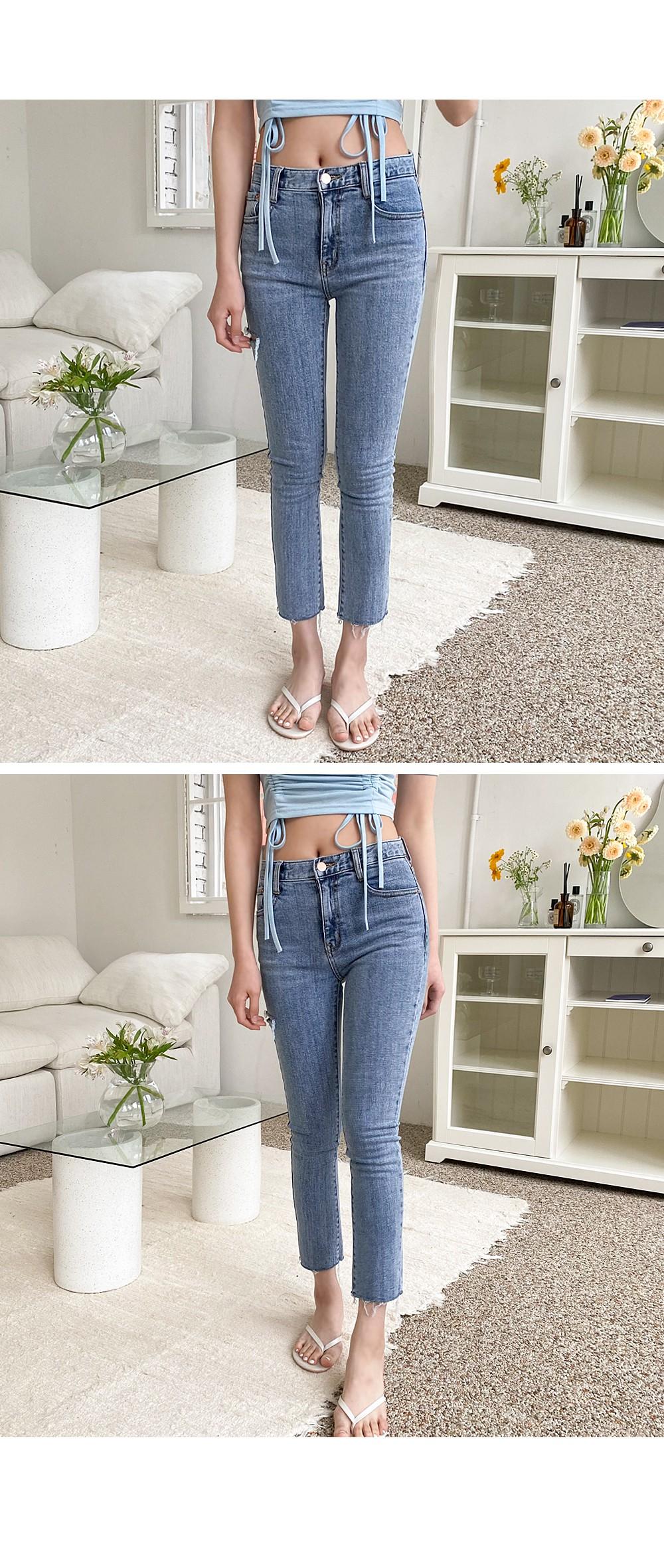 honey thigh slit jeans