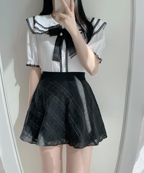 Adorable lace collar blouse 2color