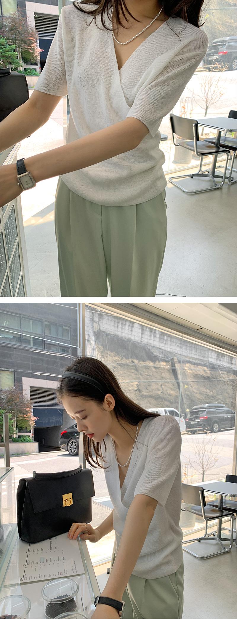 Forest Wrap Short Sleeve Knitwear