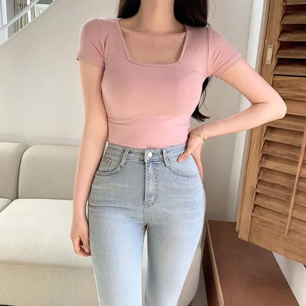 Loel Square Neck Tight Fit Crop Short Sleeve T-shirt