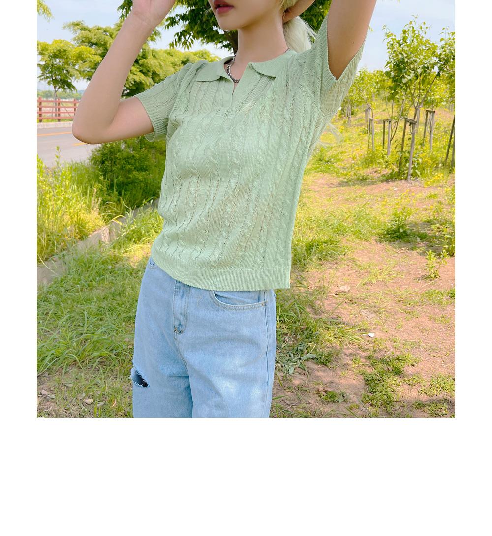 Loen Summer Twisted Collar Short Sleeve Knitwear