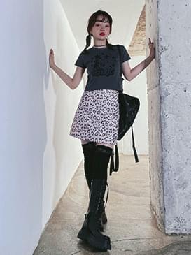 leopard pastel miniskirt