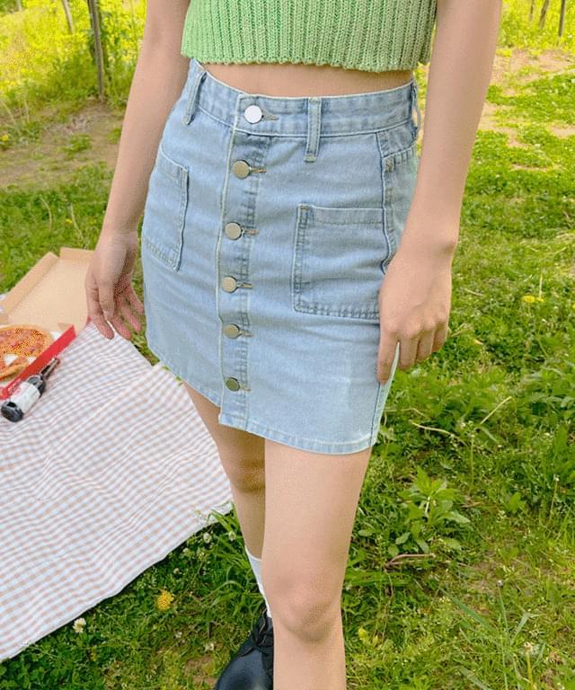 Denter button denim mini skirt