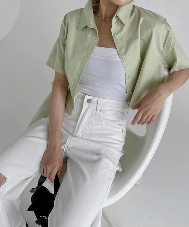Tendo Basic Crop Short Sleeve Shirt