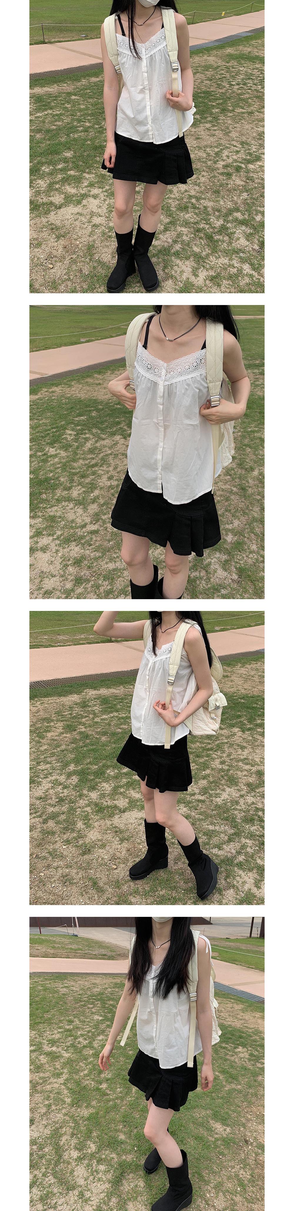 Ribbon Lace Button Sleeveless
