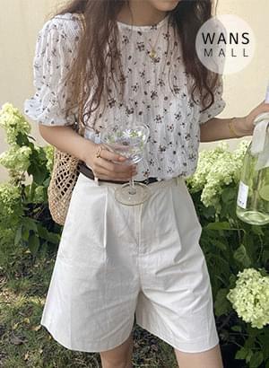 tt4975 Lillian Flower Pattern Short Sleeve Blouse