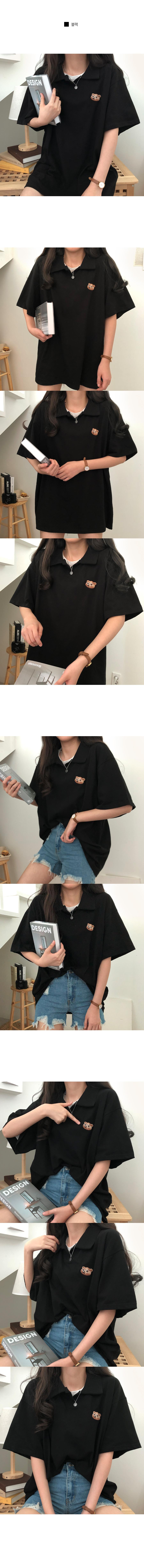 Glasses bear embroidered collar short sleeve T-shirt